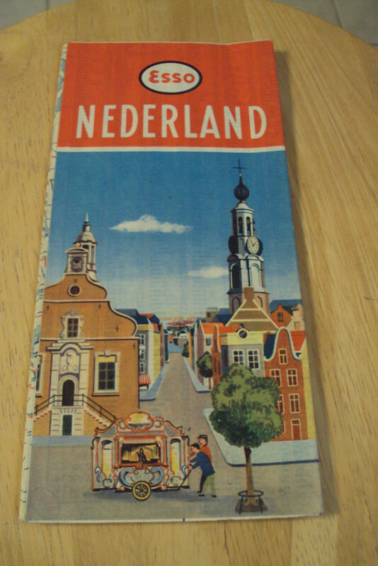 "VTG 1959 DUTCH Souvenir Travel Map~""NETHERLANDS""~Esso Gasoline~AUTO~Holland~"