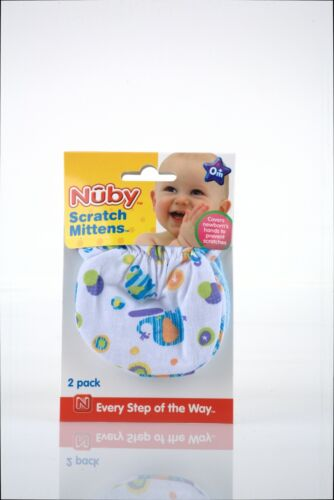 Nuby No Scratch Mittens - 2 Pack - Unisex - 100% Cotton Hand Covers - Fun Prints
