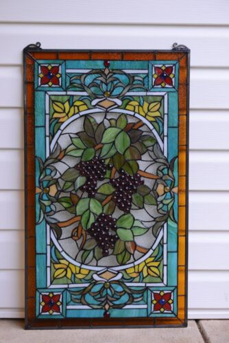 "20"" x 34"" Large Handcrafted stained glass window panel Grape W/ Vine"