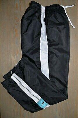 Womens Athletic Pants NIKE Windbreaker Nylon Track Black Zip Ankles MEDIUM 8 10