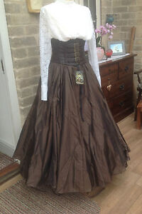 WHITBY GOTH STEAMPUNK VICTORIAN STYLE LONG BRONZE POLYSILK SKIRT FREESIZE (7522)
