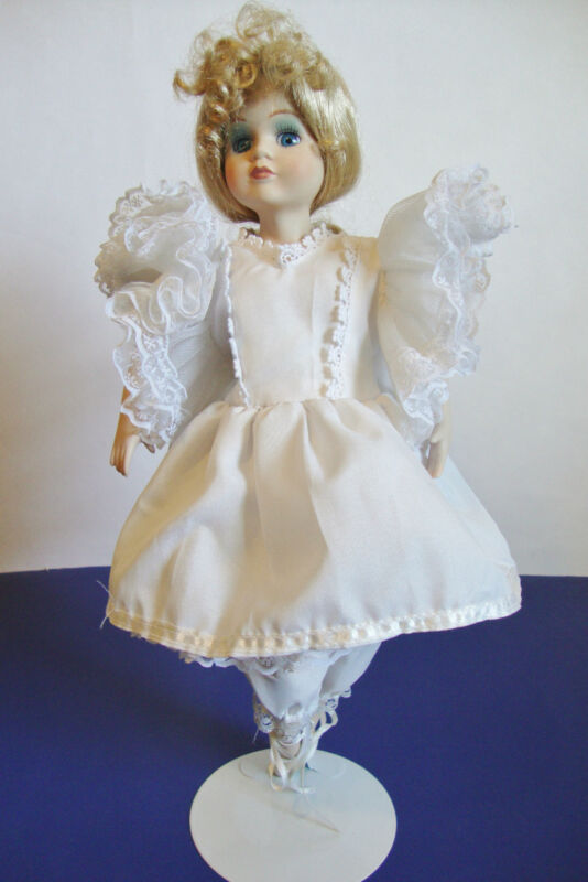 """Nice Porcelain and cloth Ballerina Doll with stand - 15"""" tall"""