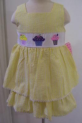 Girls Ellemenno Yellow White Gingham Summer Cupcake Dress Sz 4T NWT