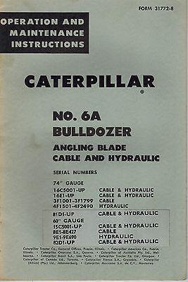 Caterpillar Vintage No. 6a Bulldozer Operation Maintenance Manual