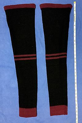 SADE BODYWEAR KNIT LEG WARMERS WARMUP BALLET SOFT BLACK PURPLE MEDIUM