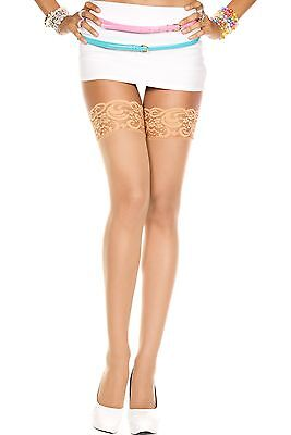 Lace Top Sheer Nylon Strümpfe (Natural Nude Sheer Lace Top Nylon Stockings Sexy Lingerie P4110)