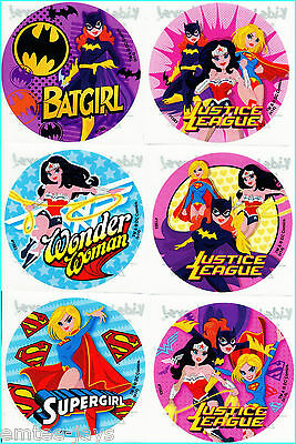 Batgirl/Supergirl/Wonder Woman Stickers x 6 - Superheroes Favours Party Birthday - Batgirl Party Favors