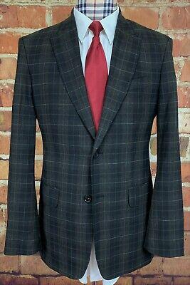 EXPRESS DESIGN STUDIO Sport Coat Jacket, 40R, Black Brown Gray Check, PEAK LAPEL