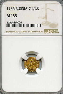 Russia 1756 Gold 1/2 Rouble Poltina Elizabeth, NGC Grded AU53 - $800.00