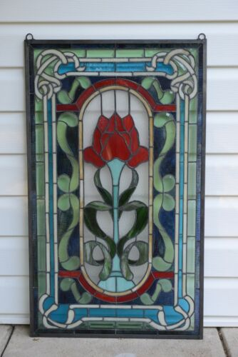 """20.5"""" x 34.5"""" Handcrafted stained glass window panel one big Rose Flower!"""