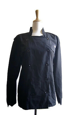 Happy Chef Cooking Uniform Panel Chef Shirt Long Sleeve Black Size XS - Chef K