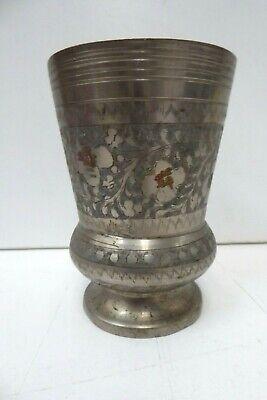 VINTAGE INDIAN BRASS SILVER WASHED ETCHED DECORATIVE VASE CUP