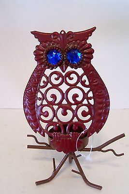 Halloween Treat Gift Baskets (RED METAL OWL VOTIVE CANDLE HALLOWEEN TRICK TREAT DECORATION FALL)
