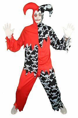 Horror Clown Harlekin Hofnarr schwarz rot Kostüm für Herren Halloween Gr. M-XXL