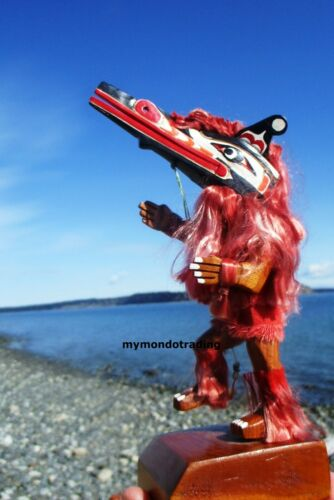 Northwest Coast First Nations Model Hamatsa dancer, articulated signed Miniature