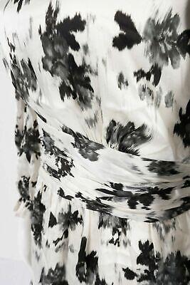 NWT ZARA Ruffled   PRINT DRESS mini black long sleeves  XS $69  #1490 2157 254