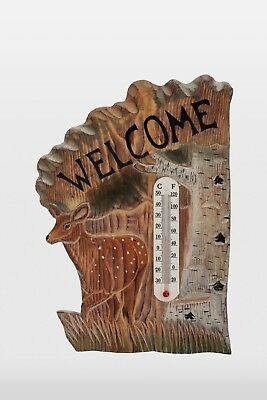 Deer Fawn Wood Carving Thermometer Cabin Rustic Decor