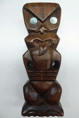 New Zealand hand carved wooden Kauri Tiki on base