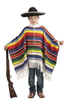 Mexican Poncho Childs Costume Spanish Fiesta One Size Cinco De Mayo Girl Boy New](Boys Spanish Costume)