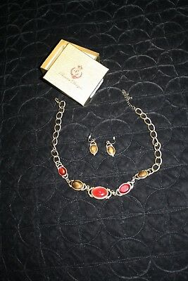 Premier Designs Jewelry Matching Set Earrings And Necklace Rust Gold Brown W/Box