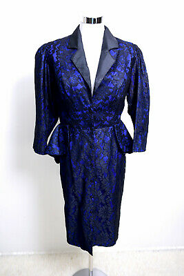 80s Dresses | Casual to Party Dresses Vintage 80's Dress Size S Blue Taffeta Black Lace Overlay Peplum and Bustle  $38.23 AT vintagedancer.com