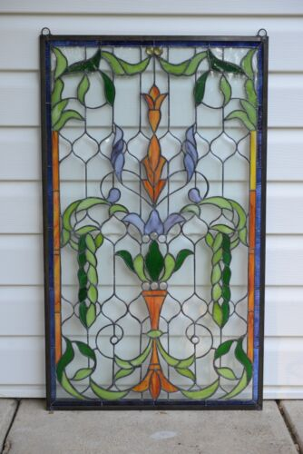 "Handcrafted Jeweled stained glass window panel. 20.5""W x 34.5""H"