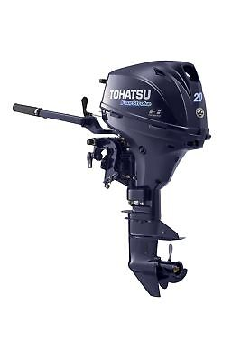"2019 Tohatsu 20 HP 4 Stroke Outboard Motor 15"" Shaft Tiller EFI Electric Start"