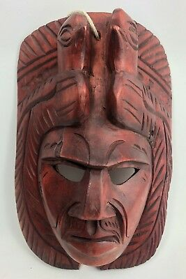 """Mayan Aztec Hand Carved Wood Wall Mask Mexican Folk Art 10"""" Tall  7"""" Wide"""