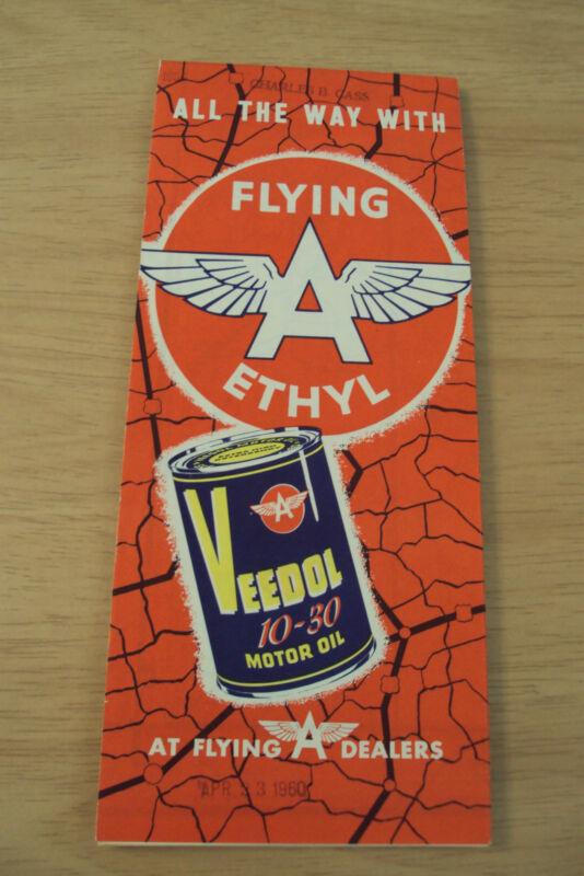 """VTG circa 1956 Road Map~""""FLYING A ETHYL""""~Veedol Motor OIL~OR/ID/MT~Ephemera~"""
