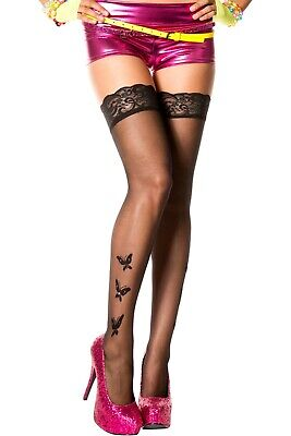 SHEER LACE TOP Stockings w/ FLOCKED BUTTERFLIES & RHINESTONE BLACK -