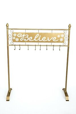 Gold Metal Freestanding BELIEVE Christmas Stocking Holder Hanger Stand Holiday ()