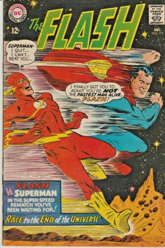 FLASH #175  SECOND RACE WITH SUPERMAN * JLA   DC  SILVER-AGE  1967  NICE!!!