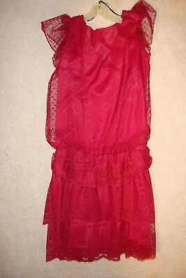 Womens Juniors Vintage Burgundy Red Lace Flapper Dress Mini Skirt CUTE! Size 7/8 (Flapper Dress Red)
