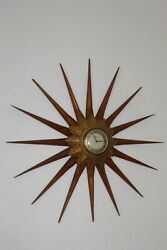 SMITHS SUNBURST STARBURST GOLD WALL CLOCK WITH REMOVEABLE WOODEN SURROUND
