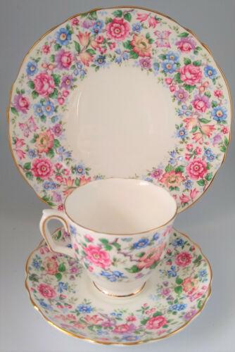 Vintage Crown Staffordshire Teacup Saucer Dessert Plate Trio Cottage Garden Gilt