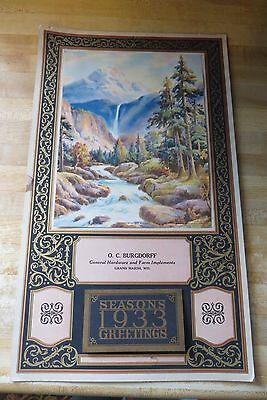 Grandeur of the Rockies,O.C.BURGDORFF,GRAND MARSH WIS.1933 CALENDAR,FARM HARDWAR