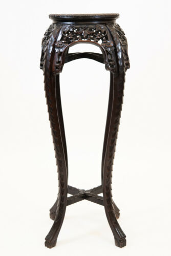 VINTAGE CHINESE FLORAL CARVED WOOD MARBLE TOP PEDESTAL TABLE STAND