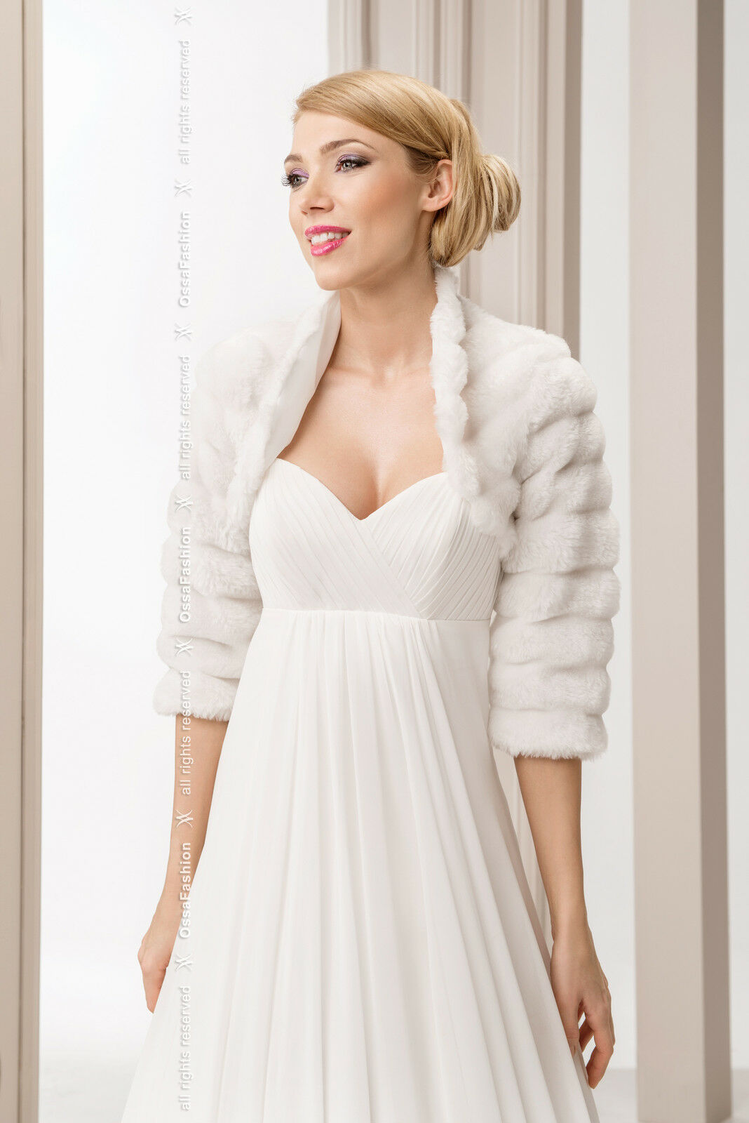 New womens girl wedding white faux fur shrug bridal bolero for Womens dress jacket wedding