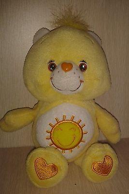 "2002 Plush Yellow Carebears Funshine Teddy Bear 9"""