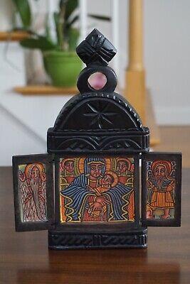 Self-Standing Threefold Carved Wood Ethiopian Orthodox Icon The Virgin Mary
