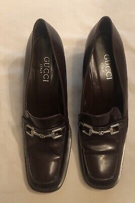 Gucci Womens Vintage Square Toe Horsebit Loafer Pumps Brown Leather Size 7