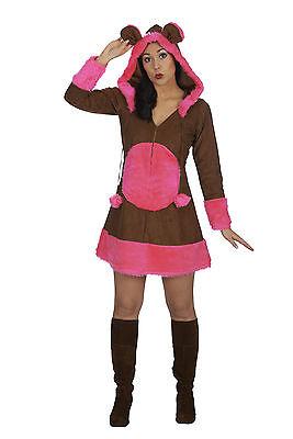 Bärchen Kleid mit Kapuze Frauen 1-tlg. Gr. 36-50 braun pink Damenkostüm Bär