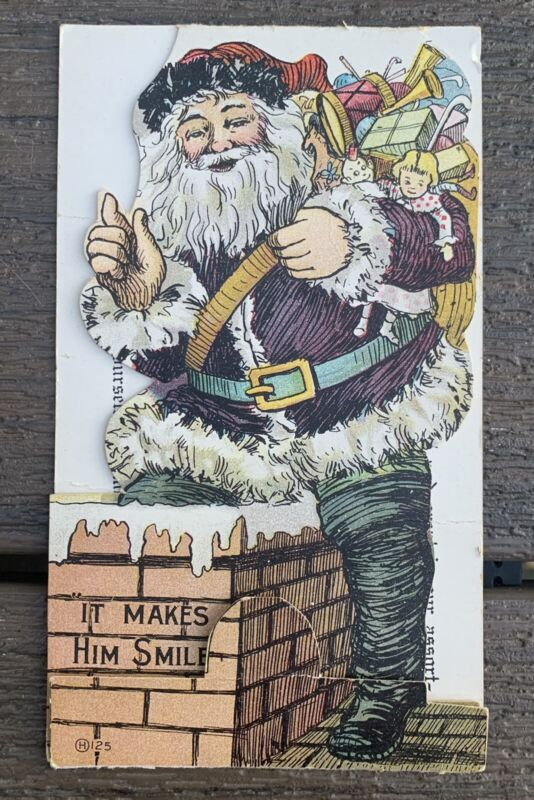 1900s SANTA CLAUS TRADE CARD Advertisement POSTCARD Die-Cut FORT SCOTT KANSAS