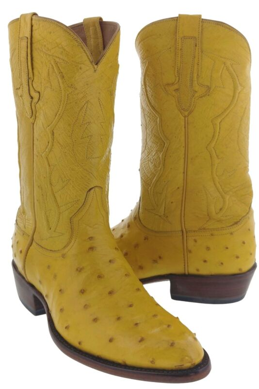 Mens, Buttercup, All, Real, Ostrich, Full, Quill, Leather, Cowboy, Boots, Western, Round