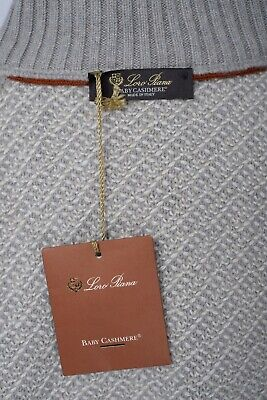NWT $2375 LORO PIANA Gray Mezzocollo Baby Cashmere 1/4 Zip Sweater 54 XL