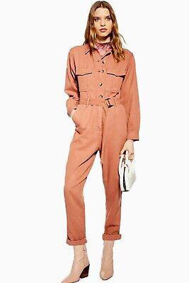 Dusky peach jumpsuit size 8, worn once, full length, primark boiler suit denim