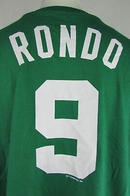 Boston Celtics  9 Rondo Majestic Mens Big   Tall Green Short Sleeve Shirt Nba