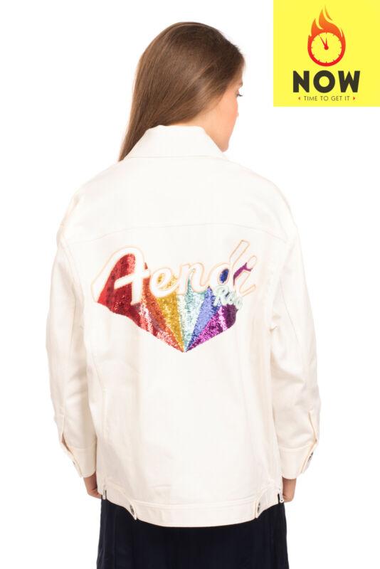 RRP €1855 FENDI ROMA Denim Jacket Size 38 / 2XS-XS Sequined Logo Collared