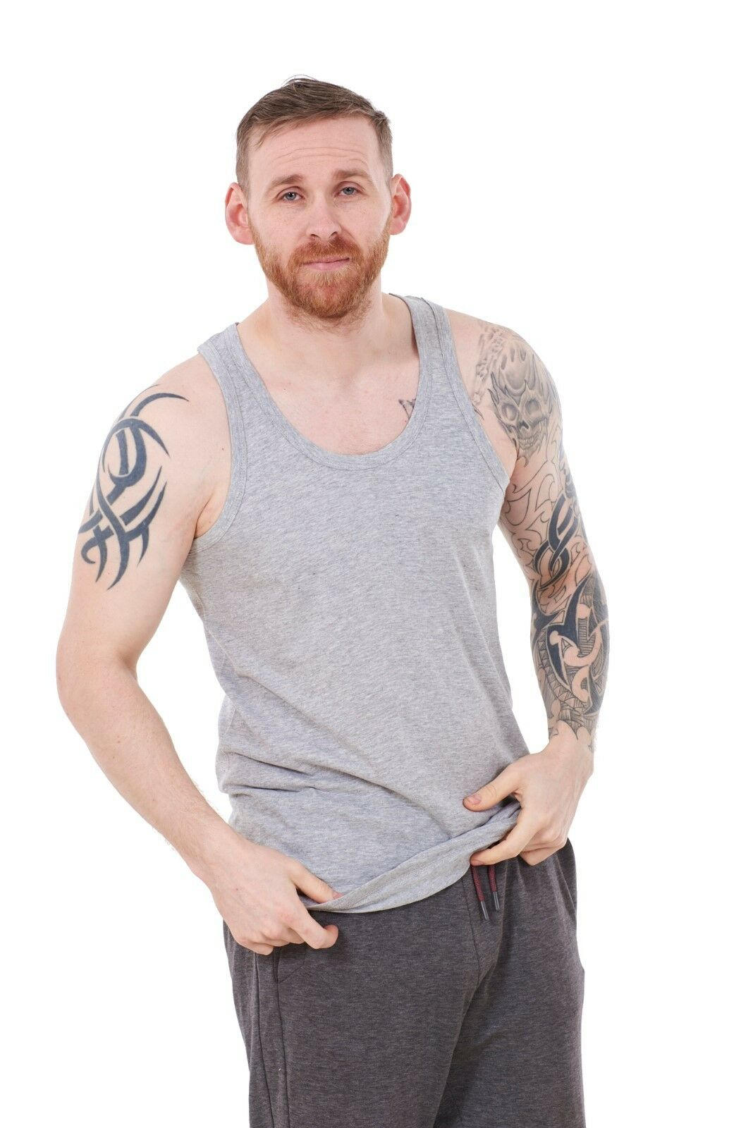 Mens Plain Vests 2-Pack Fitted Summer Training Gym Tops T-Shirts Tanks M to 2XL