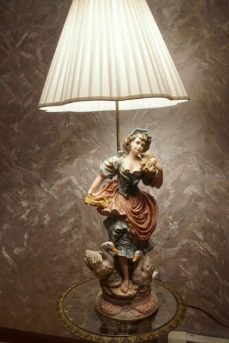RARE CAPODIMONTE  Large Table Lamp Peasant Girl  Hand Painted  Made in Italy
